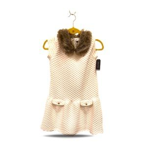 Girls Double Knit Quilted Dress w/ Faux Fur